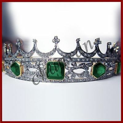 Artisan Antique INSP 9.35C Rose Cut Diamond 925 Silver Emerald Party Tiara Crown