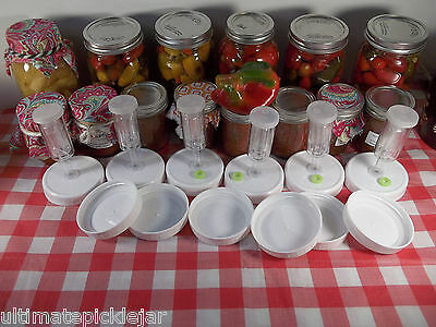 6 pack Mason jar fermenting lids with GASKETS, grommets & airlocks included