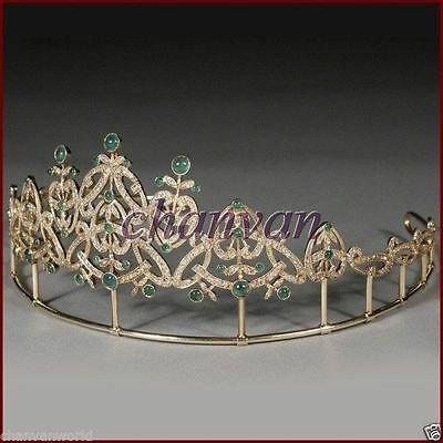 Party Wear Vintage INS 7.20Ct Rose Cut Diamond 925 Silver Emerald Tiara Crown CV