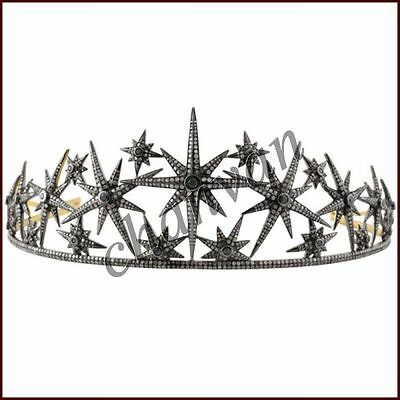 Princess Antique INSP 8.80Ct Rose Cut Diamond 925 Silver Pave Star Tiara Crown @