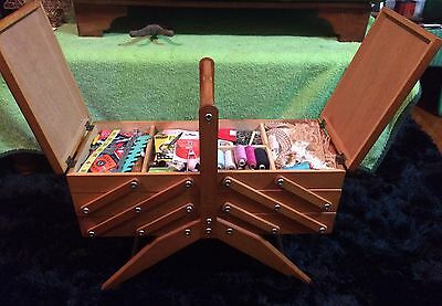 Vintage Wooden Cantilever Sewing Box + Contents