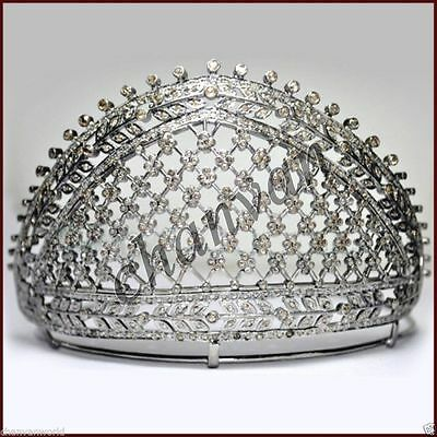 Princess Vintage Look 15.18Ct Rose Cut Diamond 925 Silver Pave Tiara Crown  @CVW