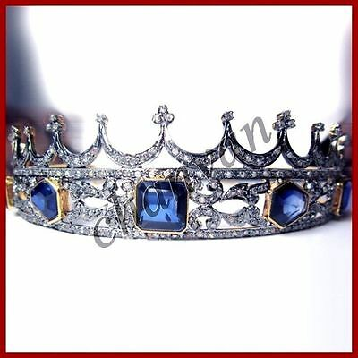Princess Vintage Look 9.35Ct Rose Cut Diamond 925 Silver Saphire Tiara Crown  @C