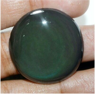 46 Ct NATURAL FINEST BLACK RAINBOW OBSIDIAN ROUND CABOCHON LOOSE GEMSTONE