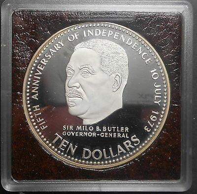 Bahamas 1978 Independence Anniversary - Milo B Butler $10 Silver  Proof  Coin