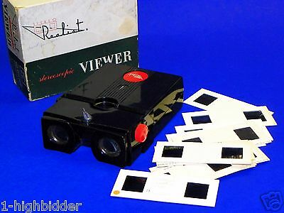 SERVICED 1950 Lighted Realist Red Button 3D Stereo Viewer ST61 Manual Slides Box