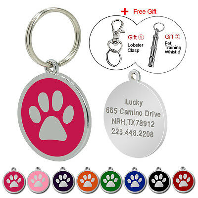 Paw Print Personalised Dog Tags Stainless Steel Pet Cat ID Name Tag Free whistle