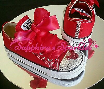 Infants Crystal Bling Minnie Mouse Red Converse Sizes 2 3 4 5 6 7 8 9 10