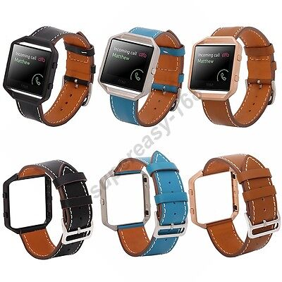 Luxury Genuine Leather Wrist Watch Strap Band + Metal Frame For Fitbit Blaze