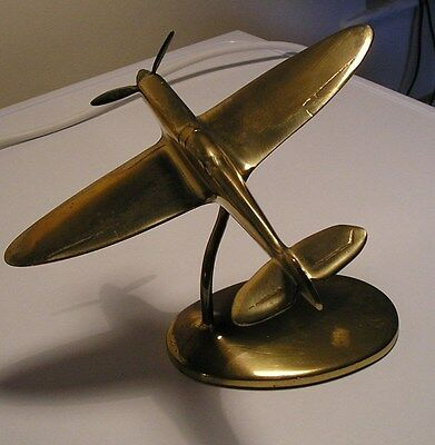 "Large Trench Art style Brass Model Spitfire aeroplane aircraft (8.5"") wingspan"