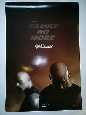 """Original movie """"Fate Of The Furious"""" poster DS 27x40 (Fast & Furious 8)"""