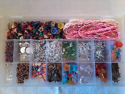 Job Lot Of Jewellery Making/ Charms / Toggle Clasps / Lucite Flower Beads