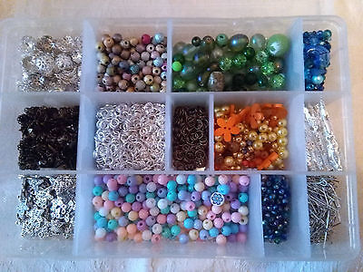 Job Lot Of Jewellery Making.mixed Beads /  Bead Caps / Charms  Box Included