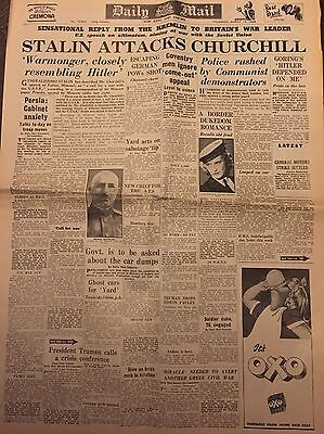 The Daily Mail Vintage Newspaper.  14 March 1946