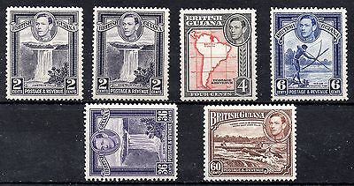 British Guiana GVI 1938-52 Values to 60c Red-brown Unchecked MM Cat £20+