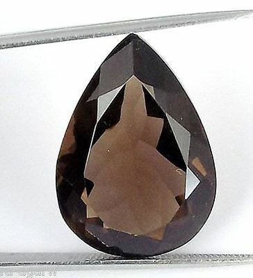1 Pcs Natural Smoky Quartz Pear 16x24mm 22Cts Faceted Cut Drilled Loose Gemstone