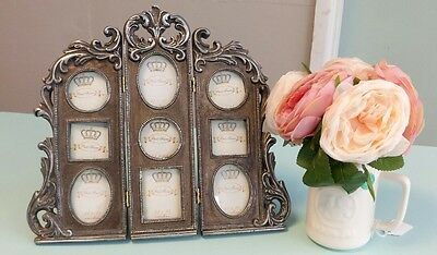 Shabby Chic multi Photo Frame Vintage French Antique Style Collage aged silver