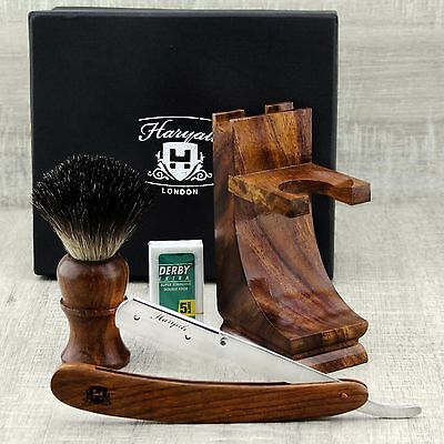 Wooden Shaving Set For Men's With Black Badger Hair Brush& Round Shavatte Razor