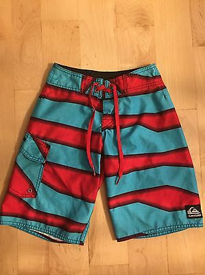 QUIKSILVER Boys Red Blue Surf Board SHORTS SWIM SIze 8 Slim
