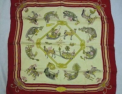 RARE HERMES Paris 100% SILK SCARF Les Fantaisies du Roy France 35 X 35