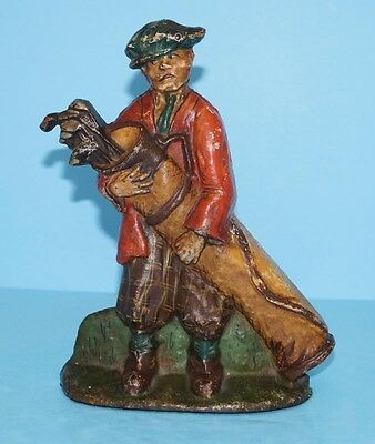 ANTIQUE CADDY W/ GOLF BAG CAST IRON DOORSTOP METAL ART CIRCA 1920's