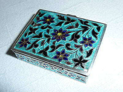 Vintage  Enamelled Silver Pill box with Flower decoration 39 grams.  925.