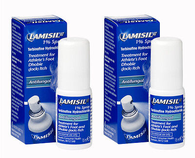 Lamisil 1% Spray 15ml x 2 - for relief from Athlete's Foot & Dhobie (Jock) Itch