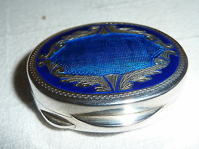Antique/Vintage Enamelled Silver Pill /Snuff box ....30 grams.  925.