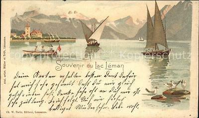 11652137 Lac Leman Genfersee Barques et les Alpes Genf