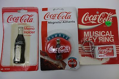 Vintage 90s Coca Cola Lot Refrigerator Magnets x 2 Musical Key Chain x 1