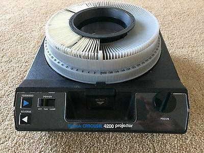 Kodak Carousel 4200 Slide Projector w/ slide tray, remote and instruction book