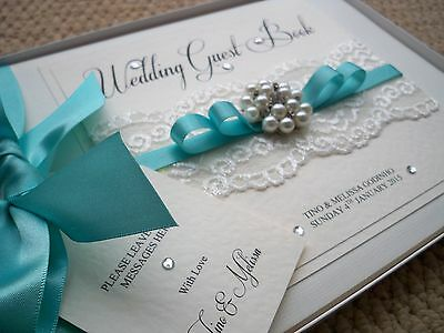 LUXURY PERSONALISED WEDDING GUEST BOOK  White or Ivory Any Colour Satin Ribbon