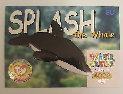 TY Beanie Baby collector card Splash the Whale Series 2