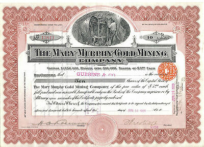 Vintage Mary Murphy Gold Mining Co Share Certificate. Colorado Gold Rush 1909