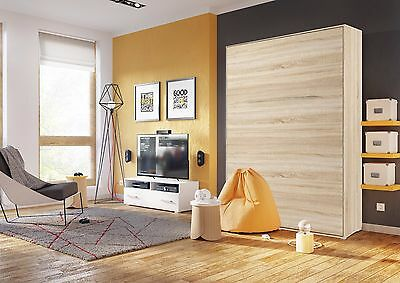 Modern Vertical Wall Hidden Fold Away Pull Out Murphy Bed 3 Sizes in Oak Sonoma
