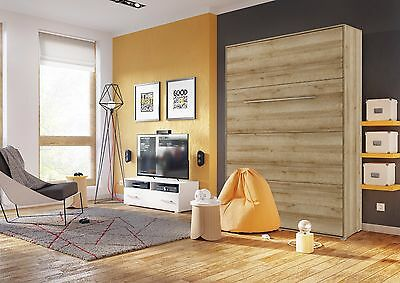 Modern Vertical Wall Hidden Fold Away Pull Out Murphy Bed 3 Sizes in Oak Riviera