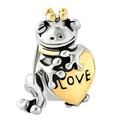 Silver & Gold Plated Frog Prince Charm Fit For European Charm Bracelets