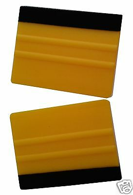 2 x PRO FELT EDGE YELLOW SQUEEGEES VINYL DECAL WRAPPING APPLICATION TOOL