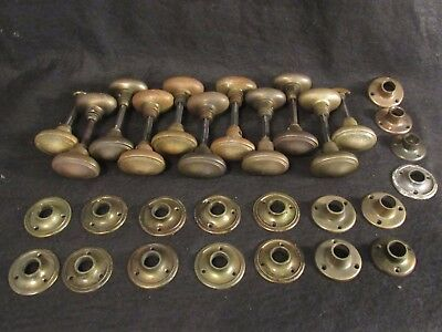 1 Pair of High Quality Antique Brass Oval Door Knobs Escutcheons Closet Sets