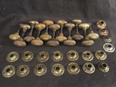 ONE Pair of Solid Brass Antique Oval Door Knobs - 11 Available + Closet Sets