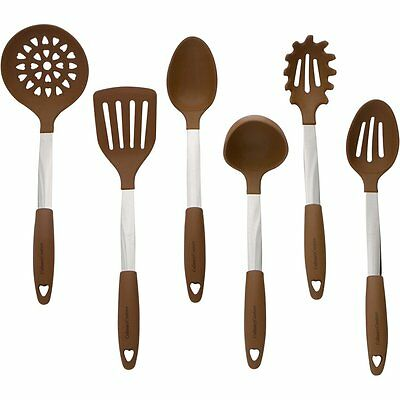 Brown Kitchen Utensil Set Stainless Steel & Silicone Heat Resistant Cooking Kit