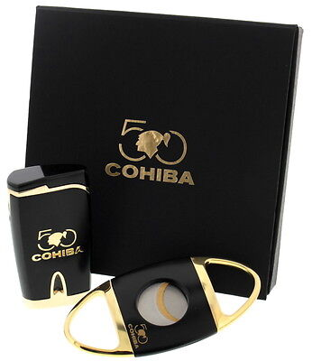 COHIBA 50th ANNIVERSARY Cutter & Lighter SET - Collectors Edition
