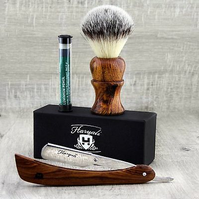 Wooden Handle Men's Shaving Brush With Synthetic Hair & Shavette Razor set