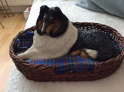 SANDIEST  Rough Collie (Lassie) Dog and Dog Basket, SIGNED,Hand Crafted