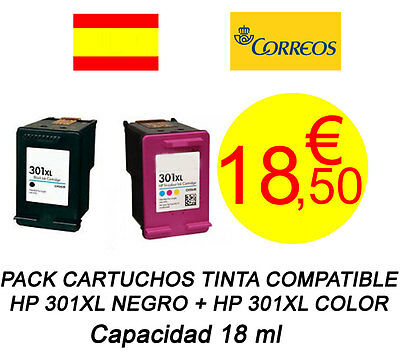 PACK Cartuchos Tinta Compatibles HP 301XL Negro + Color NO OEM