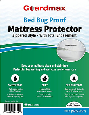 Bedbug Proof/Waterproof Mattress Protector Cover Zippered Style Quiet! Twin Size