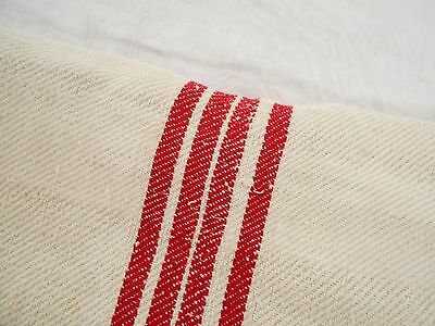 19x42 Vtg Antique 6 RED STRIPES European HEMP LINEN Fabric FEED SACK GRAIN BAG