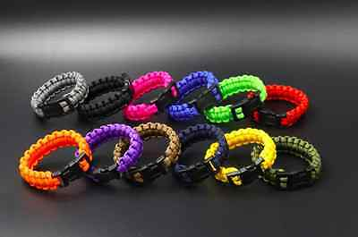 Outdoor Camping Hiking Buckle Paracord Survival Bracelet Shackle Parachute Cord