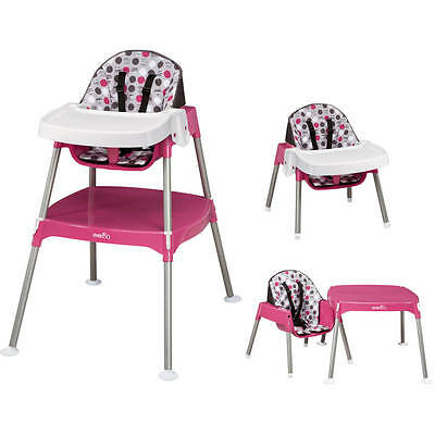 Convertible HighChair Infant Baby Toddler Feeding Eating Table Booster Seat 3in1