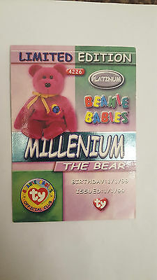 TY Beanie Baby collector card Millennium the bear limited edition platinum
